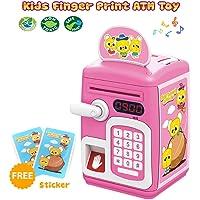 Toyshine Money Safe Kids with Finger Print Sensor Piggy Savings Bank with Electronic Lock, Pink