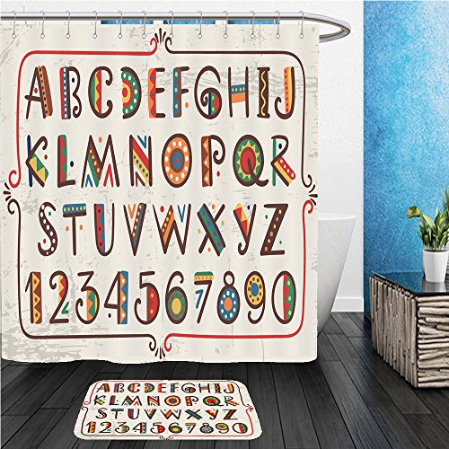 Primitive Font (Beshowereb Bath Suit: ShowerCurtian & Doormat african ethnic bright vector alphabet hand drawn graphic font primitive simple stylized design 361180325)