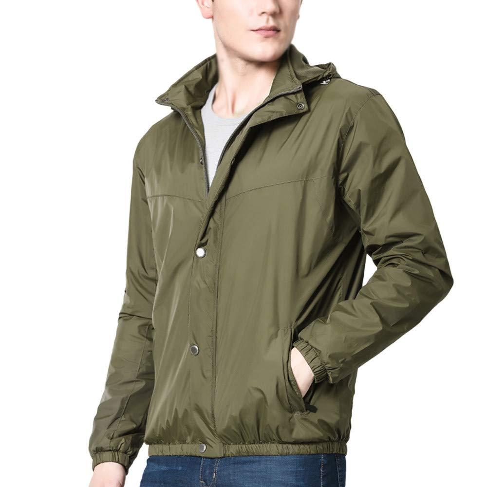 Willsa Mens Jackets, Waterproof Long Sleeve Zipper Hooded Sweatshirt