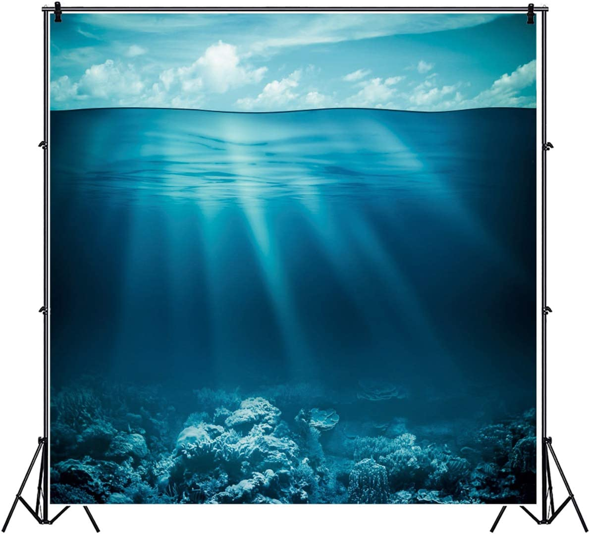 YEELE 10x10ft Deep Sea Blue Water Backdrop Under The Sea Theme Photography Background Summer Birthday Hawaiian Marine Life YouTube Videos Kids Adults Portrait Photobooth Props Wallpaper