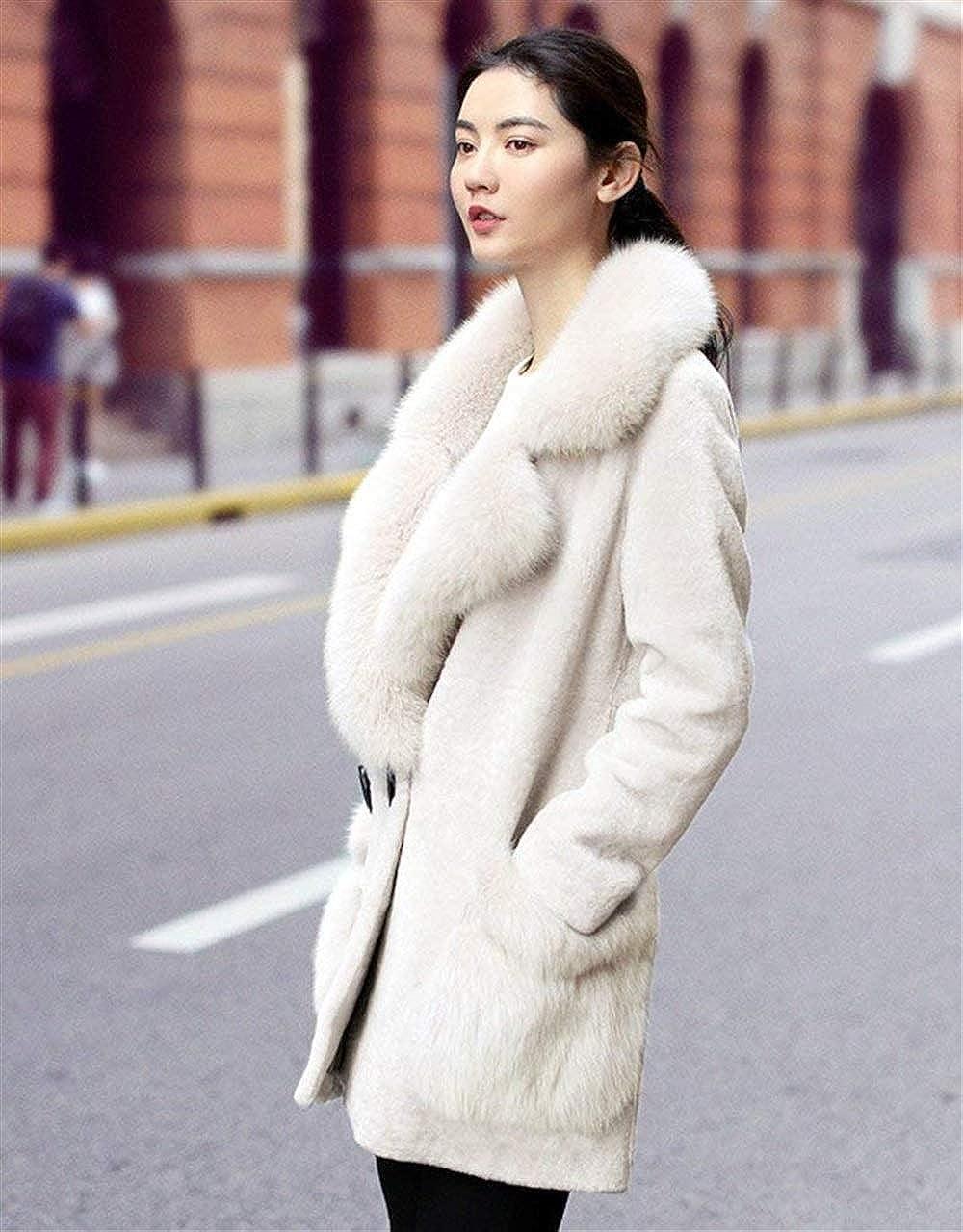 HX fashion Donna Giaccone Invernali Manica Lunga con Collo di Pelliccia Double Breasted Te Beige#1