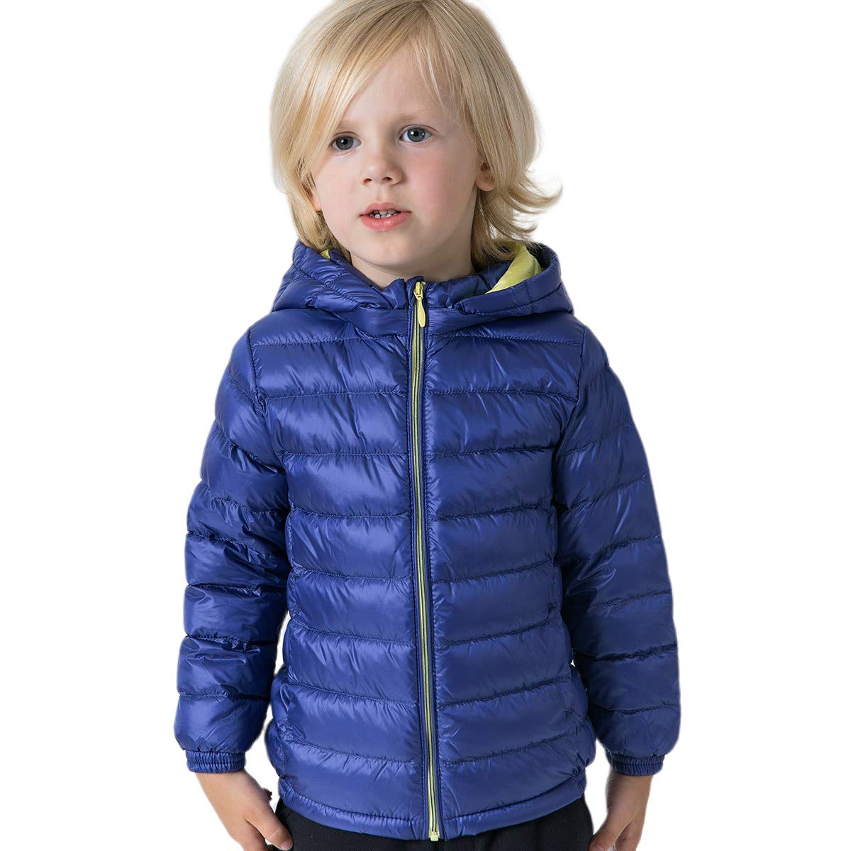 marc janie Girls Boys' Light Weight Down Jacket Packable Removable Hooded Down Puffer Coat, 36+ Colors 24 Months Sea Blue by marc janie