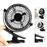 USB Clip Desk Mini Fan for Personal Table - Quiet, Portable, Multi-angle Rotation, 2 in 1 Applications, Strong Wind for Baby stroller, Car, Office, Home, Outdoor