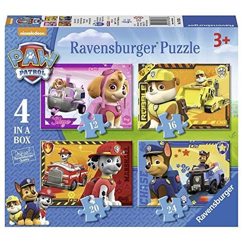 61rB6YholzL. SS500 Rompecabezas para niños de todas las edades Cuatro puzzles Ravensburger de Paw Patrol en un paquete; en la caja hay puzzles de 12, 16, 20 y 24 piezas en formato 19 x 14 cm Los rompecabezas de Ravensburger desarrollan habilidades de concentración y creatividad, son un pasatiempo optimo para relajarse solo o con amigos y una idea de regalo