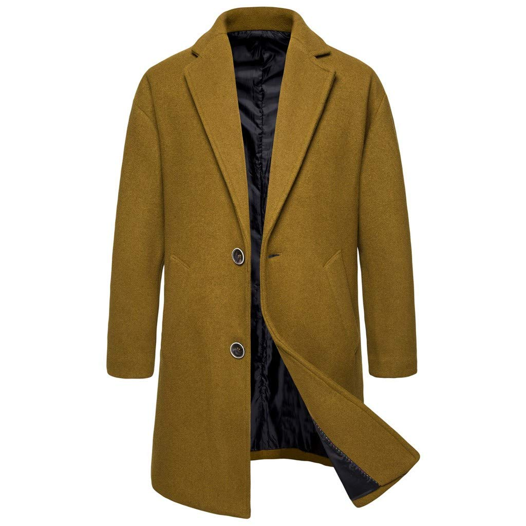 ❣❥HebeTop❥❣ Tops Jacket for Men Overcoat Warm Windbreaker Outwear Slim Long Trench Buttons Coat Yellow by HebeTop➟Women's Clothing