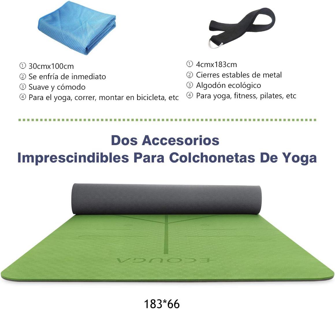 ECOUGA Colchoneta de Yoga Antideslizante con Línea Corporal para Pilates Ejercicio con Banda Tensión Toalla de Hielo Sin PVC Eco Friendly y Duradera 183x66cmx6mm (Verde): Amazon.es: Deportes y aire libre