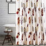 D.I.D. 1 Piece Ivory Tan Red Dreamcatcher Shower Curtain, Colorful Feathered Bathtub Decor Western Red Grey Lilac Dream Catcher Pattern Native American Tribal Indian Southwest, Polyester