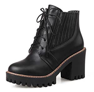 CHFSO Women's Fashion Solid Round Toe Lace Up Mid Chunky Heel Platform Martin Ankle Boots Black 7 B(M) US