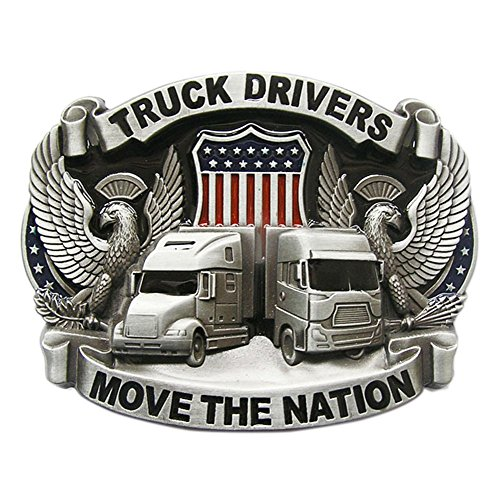 (New Vintage Enamel Nation Road Truck Driver Belt Buckle also Stock in US)