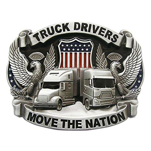 New Vintage Enamel Nation Road Truck Driver Belt Buckle also Stock in US (Buckle Trucks Belt)