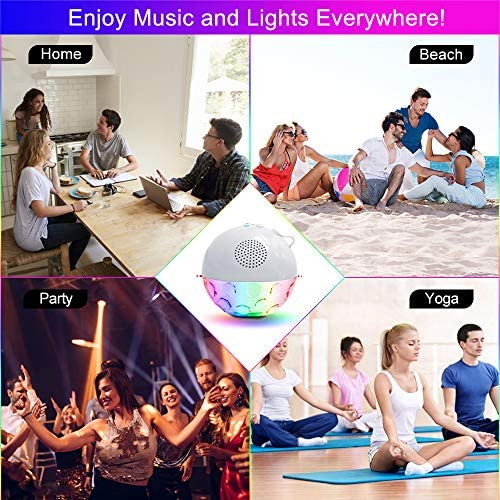 Bluetooth Portable Speaker with RGBW Lights,IPX7 Waterproof Speakers with Dual Drivers,Rich Bass,50ft Bluetooth Range,Built-in Mic,Portable Wireless Speaker for Home Outdoor Pool Hot Tub Shower Travel 61rB7UHIROL