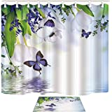 Shocur Floral Shower Curtain Set, Purple Butterfly and White Tulip Lake Water, Bathroom Decor Polyester Fabric 69 x 70 Inches