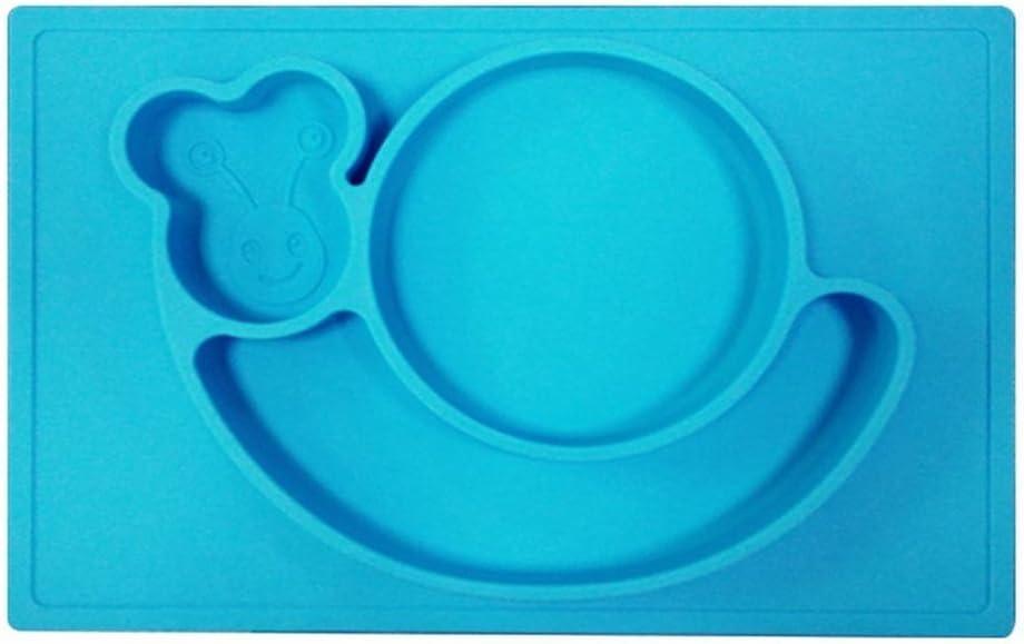 Escargot Bleu Chilsuessy Enfant Placemats Assiettes Nourrit B/éb/é Plateau /à Compartiments Divis/és