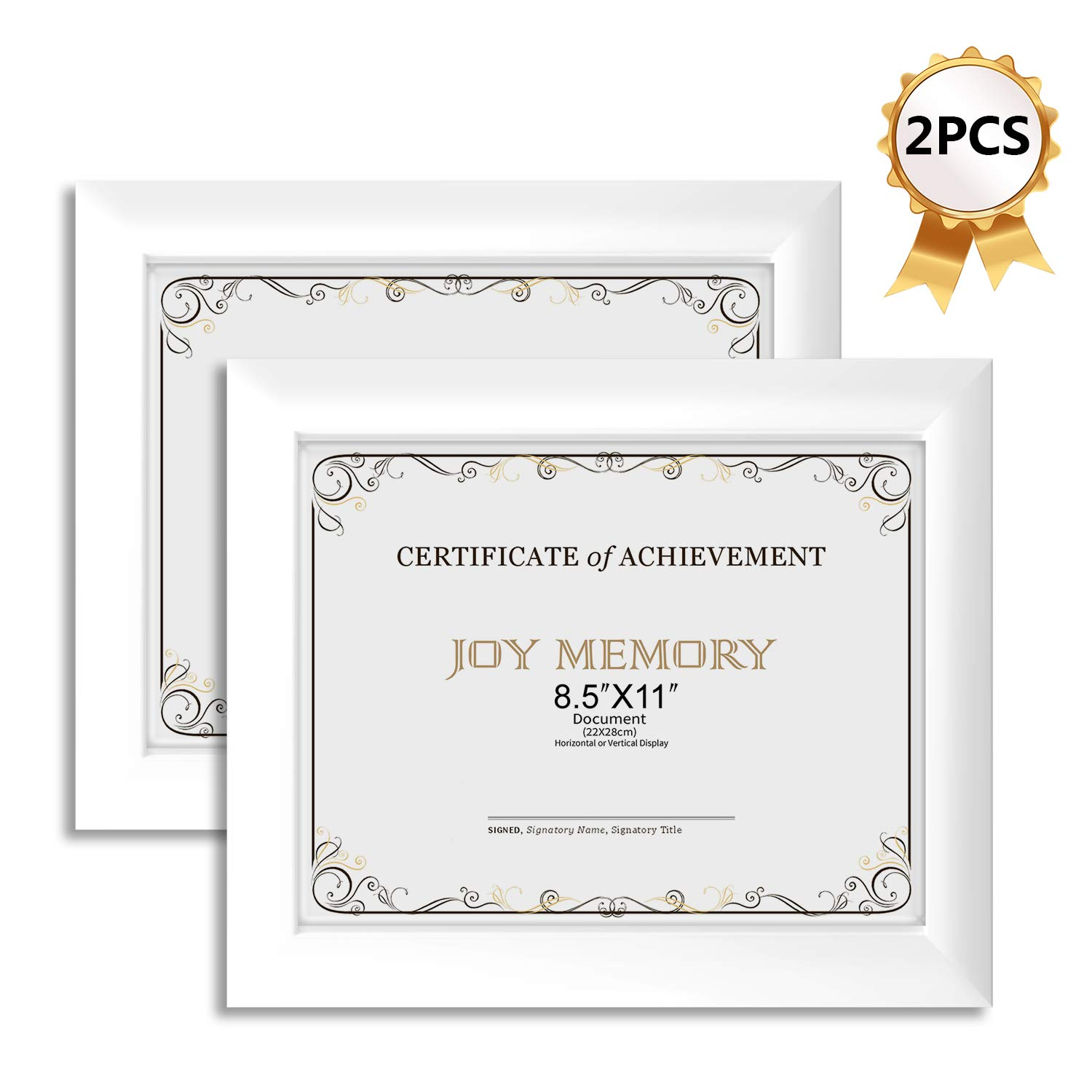 Joy Memory Document Diploma Frames 8 5x11 Set Of 2 Pack Certificate Frames White Glass Fronts Vertical Or Horizontal Display Wall Decor Frame