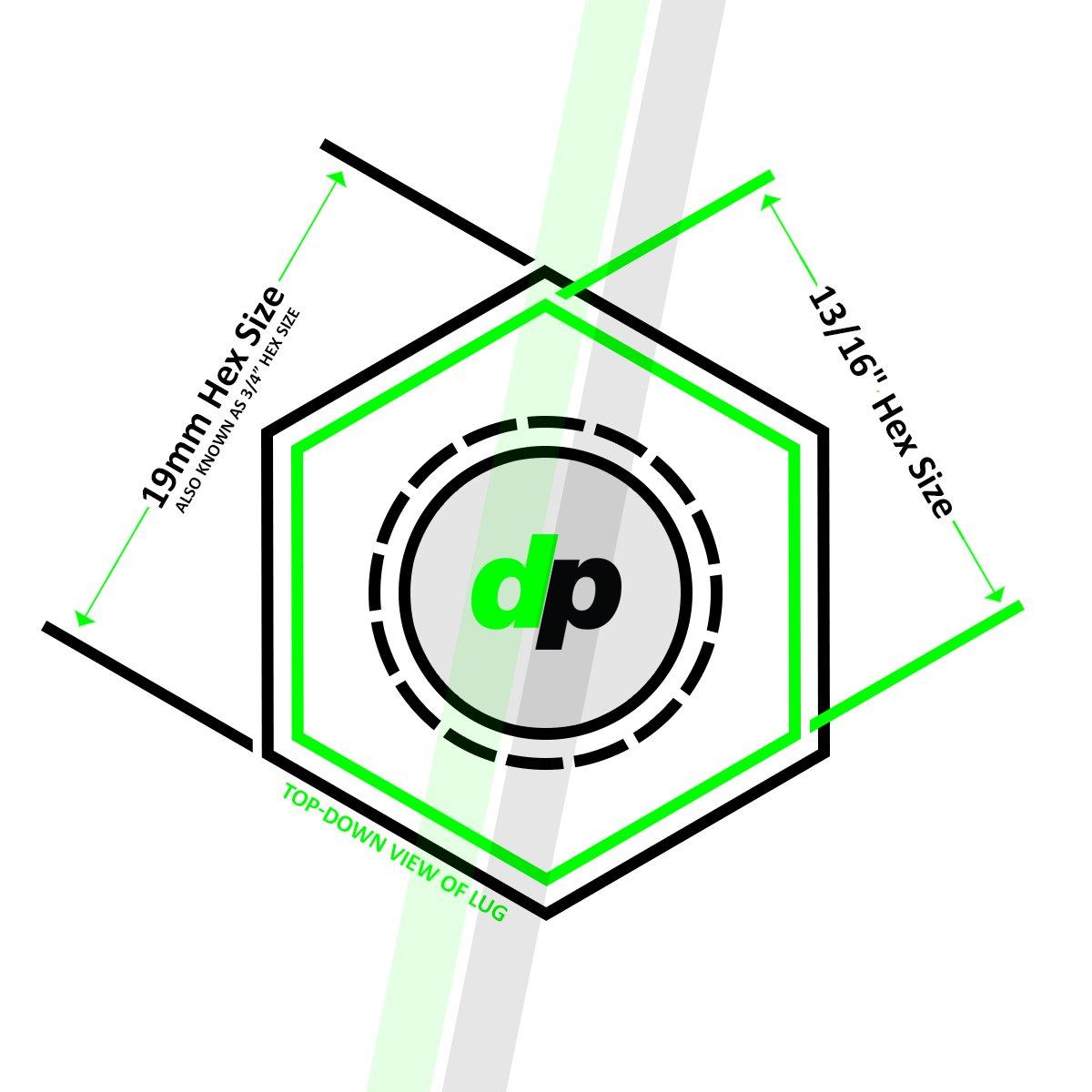 DPAccessories D5246P-2308//20 20 Black 12x1.5 Closed End Spline Tuner Lug Nuts for Aftermarket Wheels Wheel Lug Nut