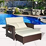 Cloud Mountain 2 Piece Patio Wicker Rattan Love Seat Sofa Daybed Set Outdoor Patio Love Seat Store Ottoman Garden Furniture Set Chaise Lounge, Creamy White Cushions with Cocoa Brown Rattan