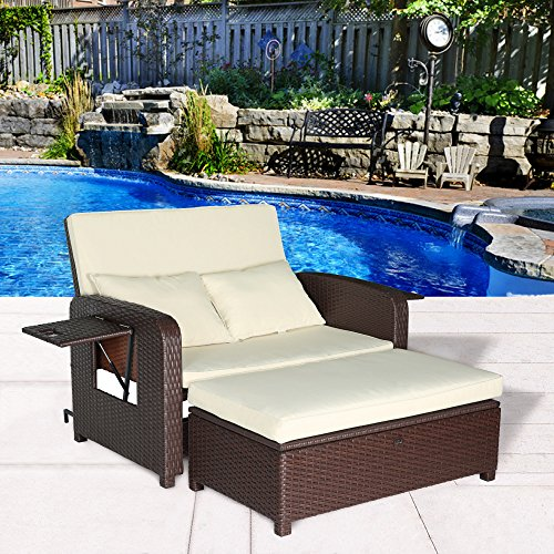 Cloud Mountain 2 Piece Patio Wicker Rattan Love Seat Sofa Daybed Set Outdoor Patio Love Seat Store Ottoman Garden Furniture Set Chaise Lounge, Creamy White Cushions with Cocoa Brown Rattan (Bed Patio Furniture)