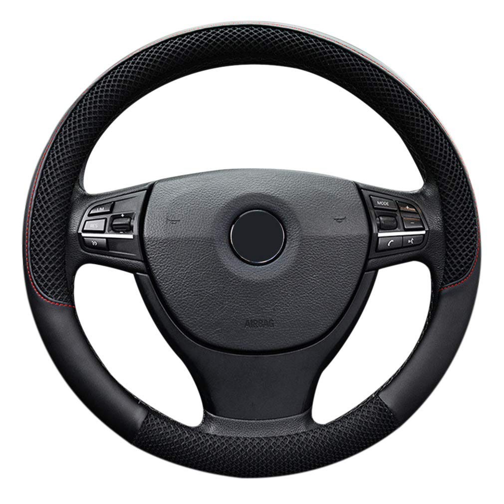 """LucaSng Black Microfiber Leather and Ice Silk Fabrics Car Steering Wheel Cover Fit 14.56/""""-14.96/"""""""
