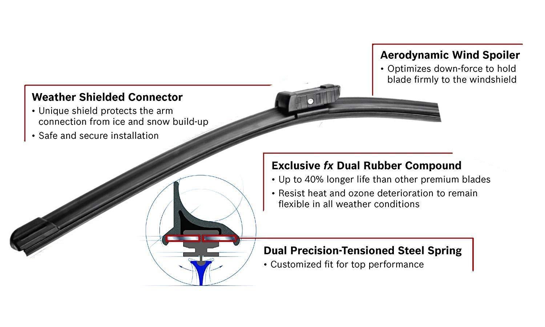 Juego de 3 limpiaparabrisas de hoja plana para SEAT LEON II 2005-2012 limpiaparabrisas trasero /¡GRATIS! View amazon detail page
