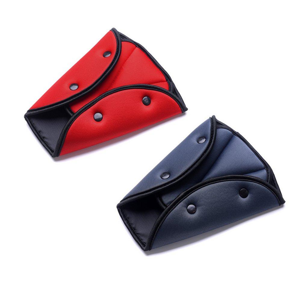 Hysagtek 2Pcs Seat Belt Adjusters Pads Seat Belt Safety Covers Device Protector Seat Belt Positioner (Red + Grey)