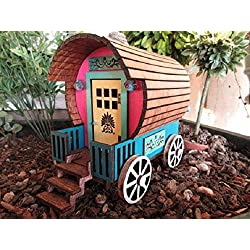 Fairy Garden Wagon Gypsy Caravan miniature OOAK handmade house cottage door
