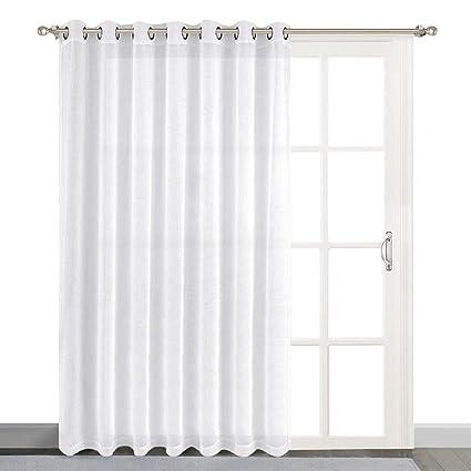 Nice NICETOWN Linen Like Patio Door Curtains White Grommet Top Semi Voile Drape  Sheer Panels For