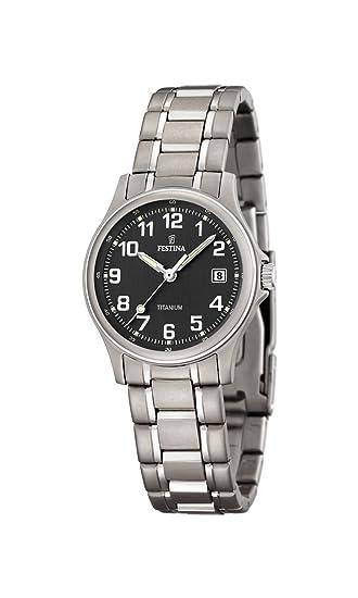 Festina F16459/3 - Reloj analógico de cuarzo para mujer, correa de titanio color gris: Amazon.es: Relojes