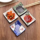 LONGPRO Creative Porcelain Dinnerware Plate Set of 4 Japanese Dipping Sauce Dishes, for Appetizer, Dessert, Salad, Snack, Sushi, Fruit, Bread ( 3.5