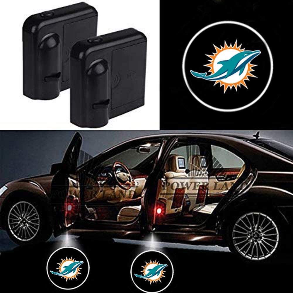For Fit Miami Dolphins Car Door Led Welcome Laser Projector Car Door Courtesy Light Suitable Fit for all brands of cars (Fit Miami Dolphins)