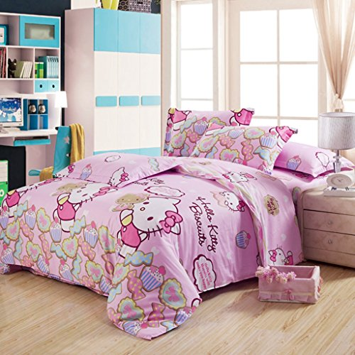 Warm Embrace Children Bedding Series 100% Cotton Hello Kitty Pink Candy Duvet Cover Set & Fitted sheet,Queen 86