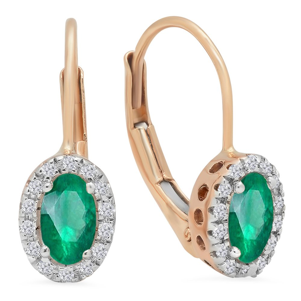 14K Rose Gold 5X3 MM Each Oval Lab Created Emerald & Round Diamond Halo Hoop Earrings