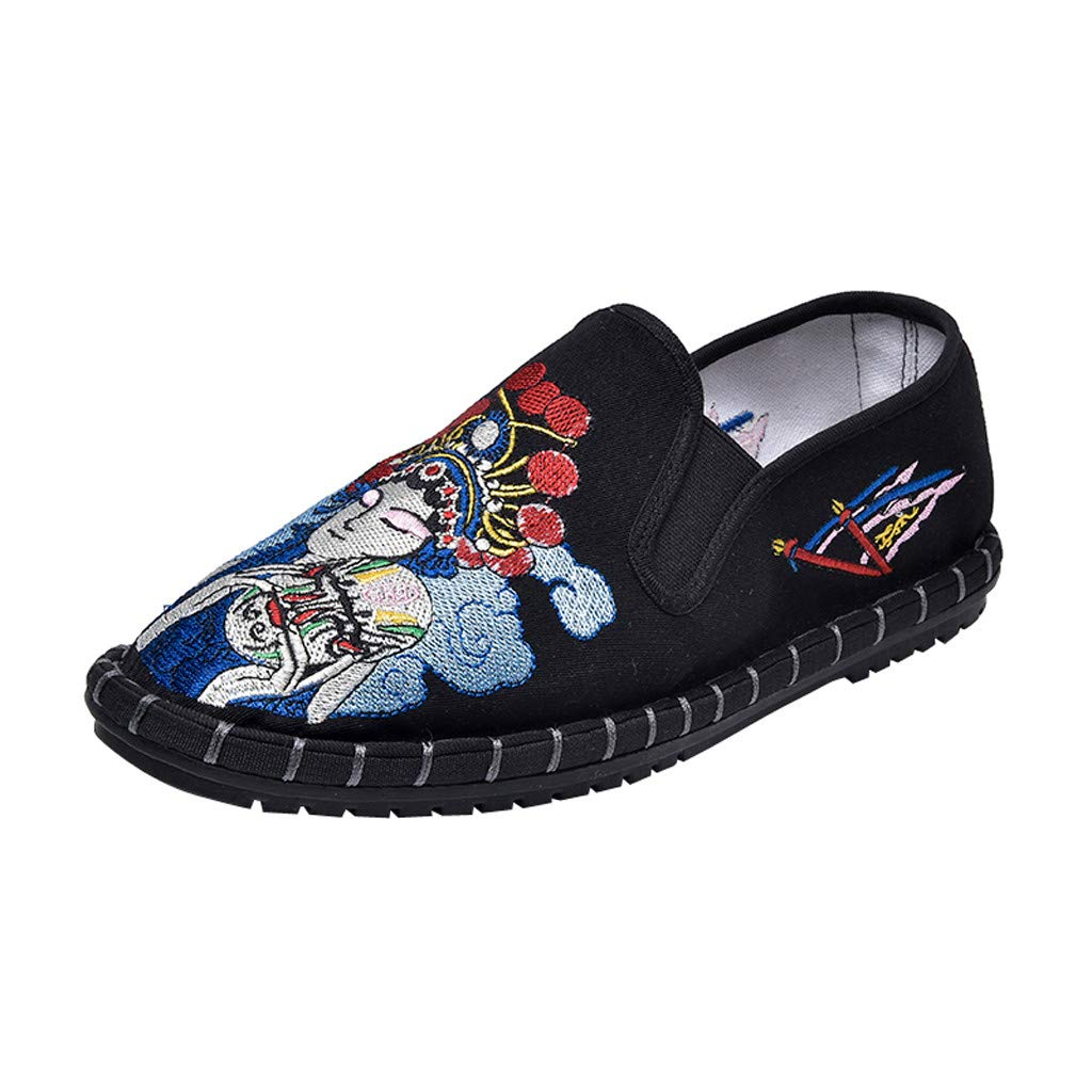 Women's Loafers & Slip-Ons Embroidery Printed Flat Casual Shoes Comfort Penny Walking Shoes Soft-Soled Boat Shoes Snakers (Black, US:9)