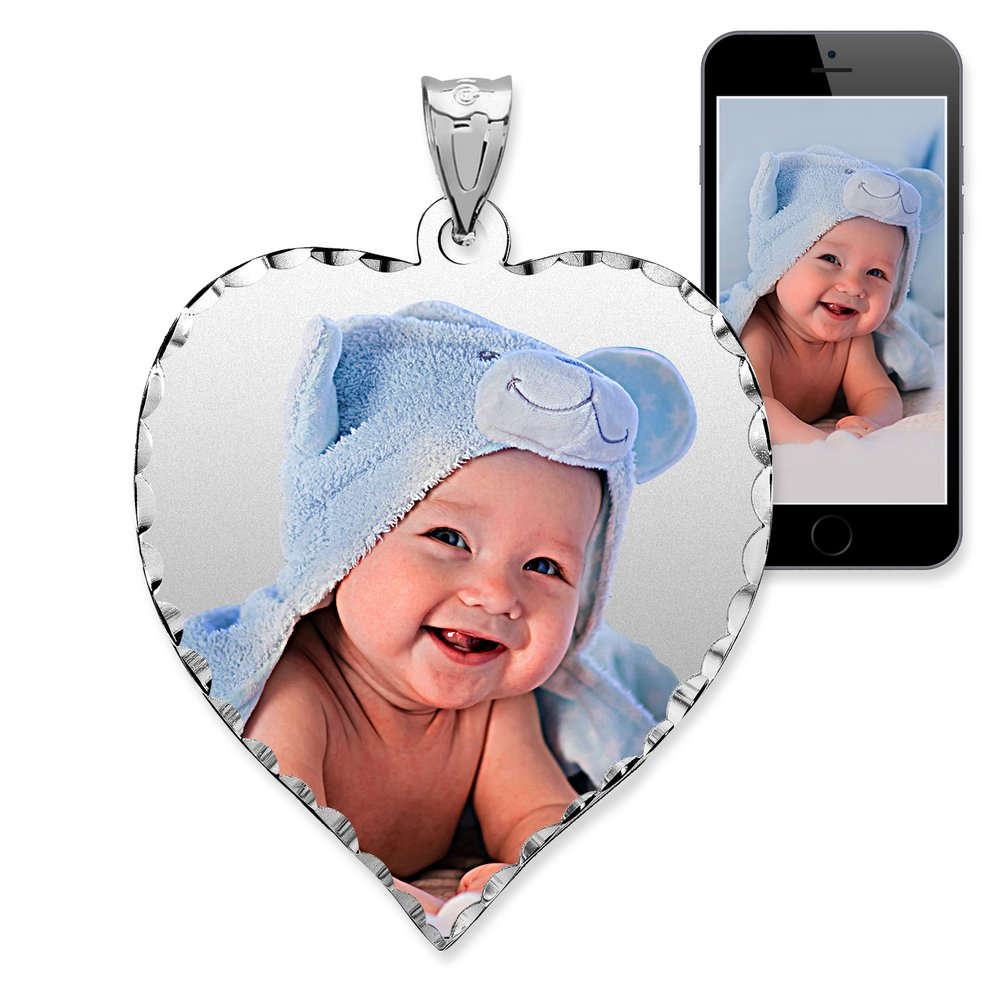PicturesOnGold.com Personalized Photo Engraved Heart Shaped Custom Photo Pendant/Photo Necklace/Photo Charm with Diamond Cut Edge - 3/4 Inch x 3/4 Inch (14k White Gold)