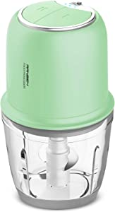 Small Food Processor, Cordless Chopper - 2.5Cup Mini Electric Food Chopper with Glass Bowl for Vegetables, Onion, Garlic, Salsa, Meat, Baby Food, Puree 2 Speed Green
