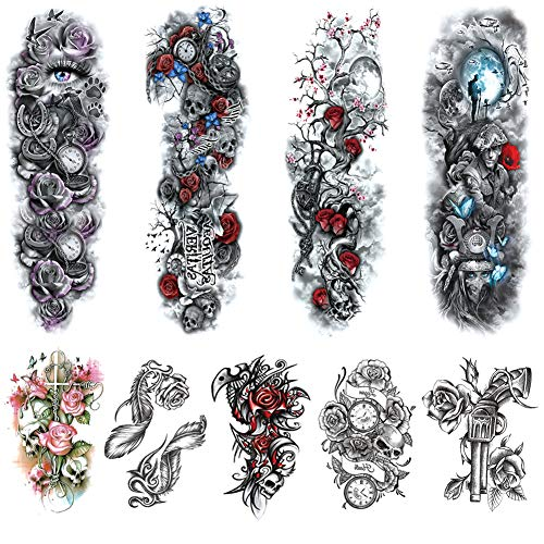 Full Arm Temporary Tattoos Sleeves for Women Men Large Body Art Fake Tattoo Stickers Realistic Shoulders Chest Back Tattoo Black Skull Rose Lion Waterproof Temp Tattoo Sleeve (9 Sheets)