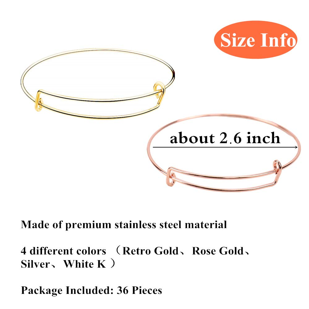 Type 1 Adjustable Bracelet for Women Jewelry DIY Making Joyous Journey 36 Pieces Expandable Blank Wire Bangle Rose Gold Silvery and White K Gold