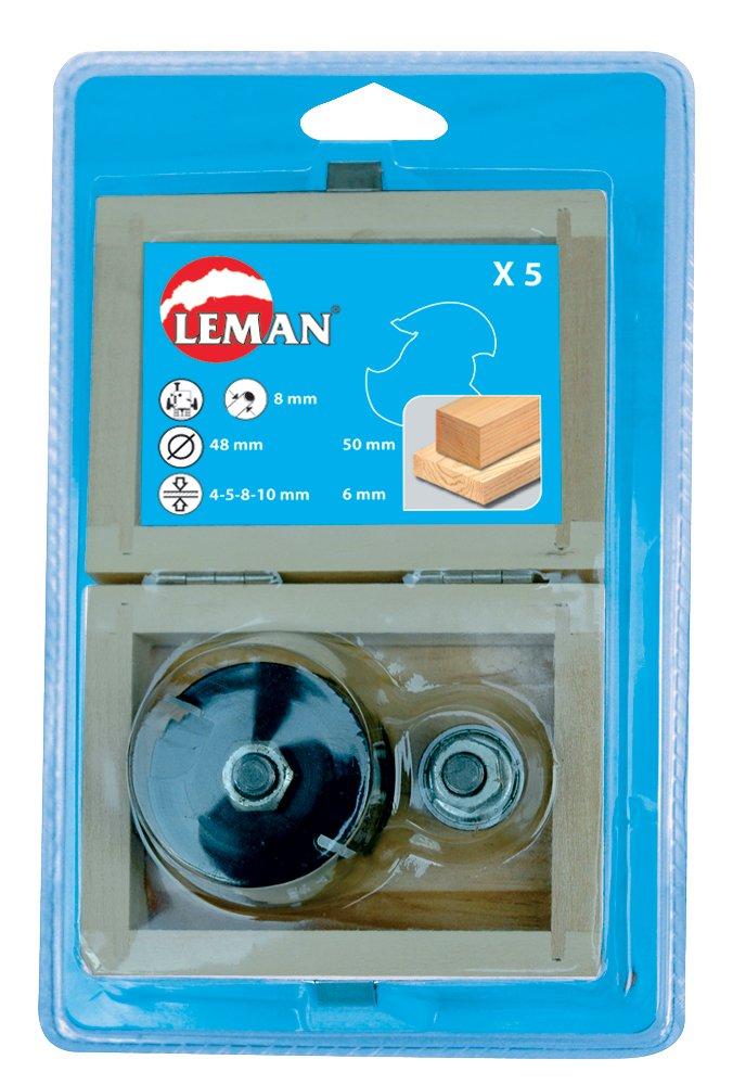 Leman 4728.700.05 Coffret de 5 Disques à rainer en Carbure avec arbre porte-fraise queue de 8 mm