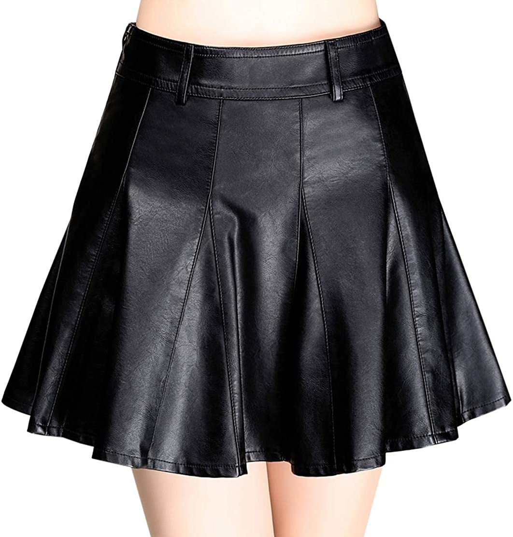 Women/'s Faux Leather A line Mini Skirt