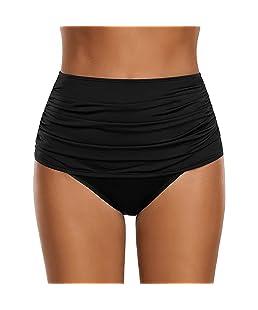 Malloom Femmes Mode Solide Taille Haute de Bain Bikini Bottom froncé Tankini Maillot de Bain Slip Grande Taille S-XXL
