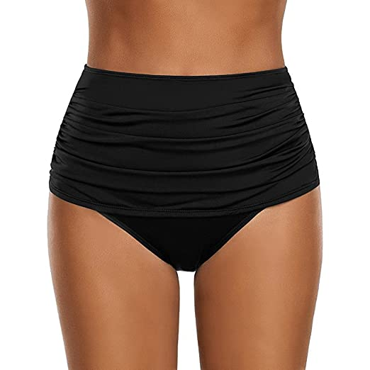 4c7644e78a2 Xavigio Swimsuit Women s Solid High Waisted Swim Bottom Lady Ruched Bikini  Swimsuit Briefs Plus Size Black
