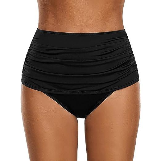 84614b5c42e Women's High Waisted Bikini Bottom Summer Solid Ruched Shirred Hispter  Swimsuit Briefs Swim Shorts (S