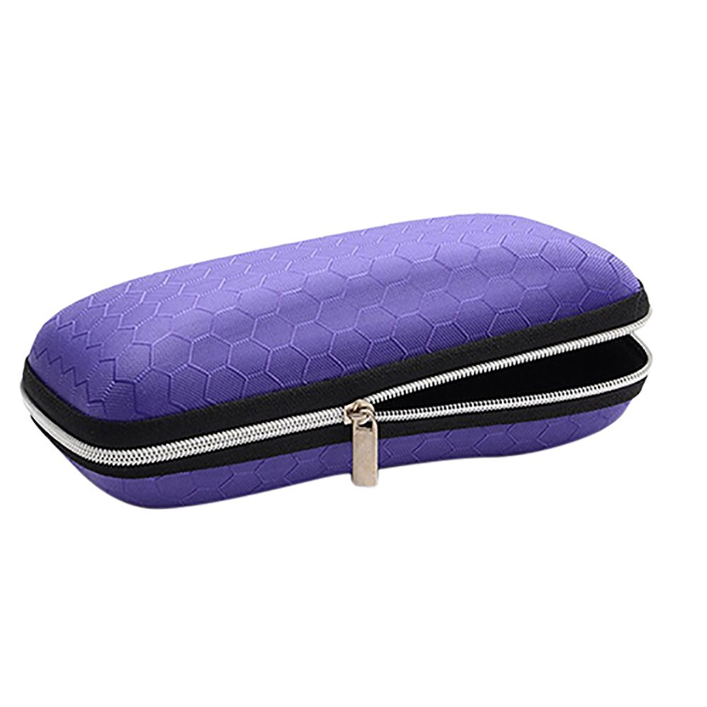 Honeycomb Sunglasses Eyeglasses Case Zipper Hard Protect Box Holder-Purple by Alamana (Image #1)