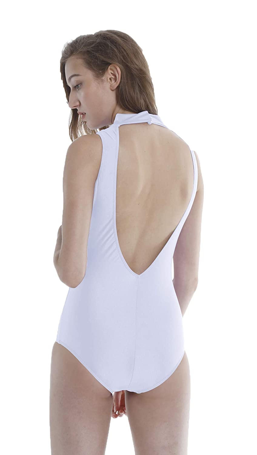 White Speerise Adults Backless Ballet Dance Leotard Turtle Neck Gymnastics Bodysuit