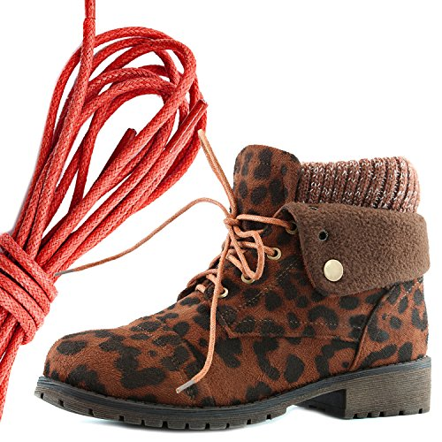 DailyShoes Womens Combat Style Lace Up Sweater Top Ankle Bootie With Pocket for Credit Card Knife Money Wallet Pocket Boots, Red Brown Leopard Sv