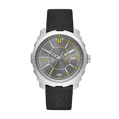 Diesel Men s DZ1739 Machinus Nsbb Stainless Steel Black Leather Watch