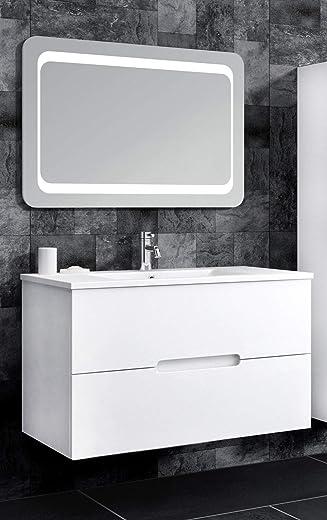 Oimex Tiana 90 cm Badmöbel mit LED Spiegel Hochglanz Weiß Badezimmer Set mit viel Stauraum Waschtisch Unterschrank Keramik Waschbecken 1
