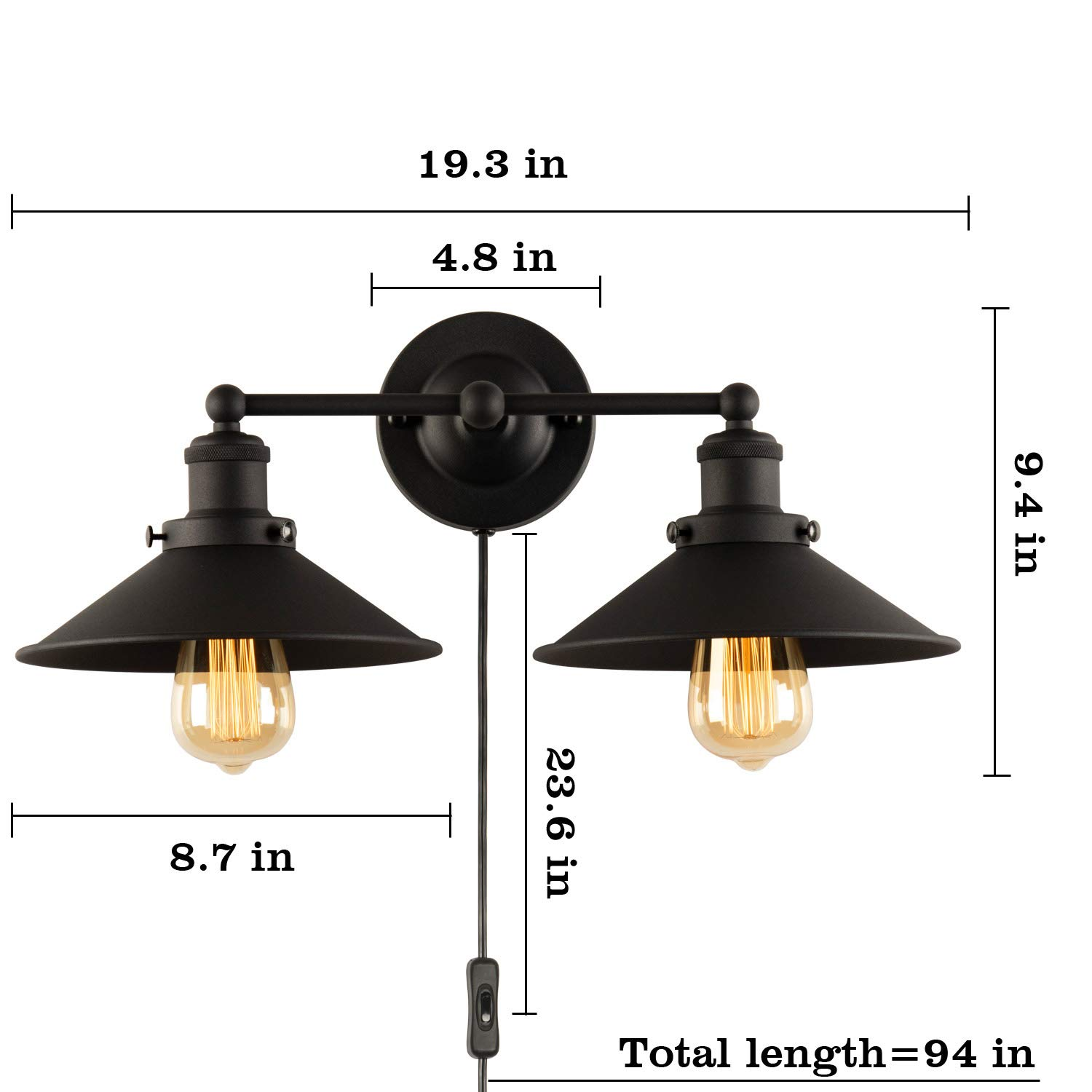 Amazon com plug in 2 light wall sconces lighting fixture xiding vintage industrial wall light with black aged steel finished metal shade home improvement