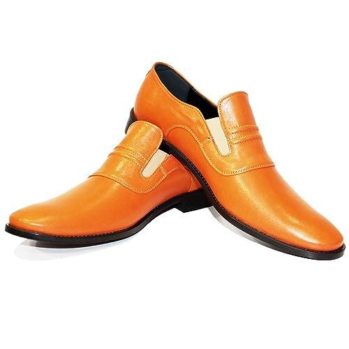 Modello Mimi - Cuero Italiano Hecho A Mano Hombre Piel Naranja Mocasines y Slip-Ons Loafers - Cuero Cuero Suave - Ponerse: Amazon.es: Zapatos y complementos