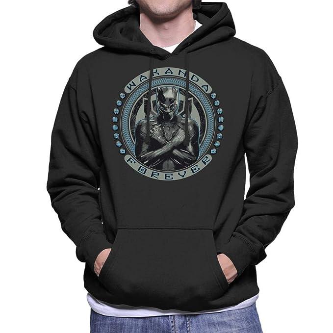 Marvel Black Panther Wakanda Forever Symbol Circle Mens Hooded Sweatshirt