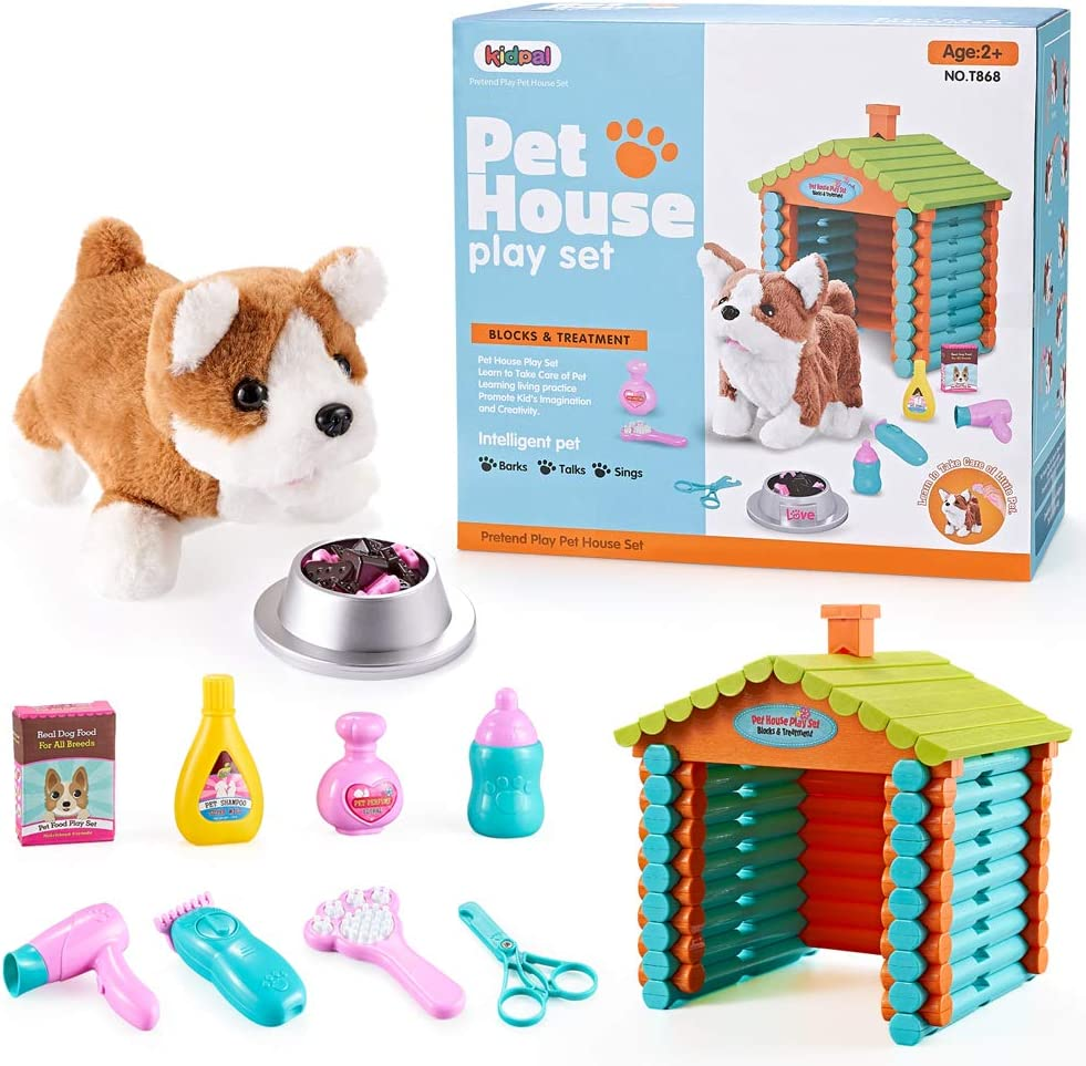 Pretend Play Toy My Lift Pet Toy Dog DollHouse for Little Girls & Boys with 103pcs Buildling Logs, Plush Puppy Dog Play set for Kids 4 5 6 Year Old Pet Care Toys  10pcs Dog, Bowl, Food & Accessories